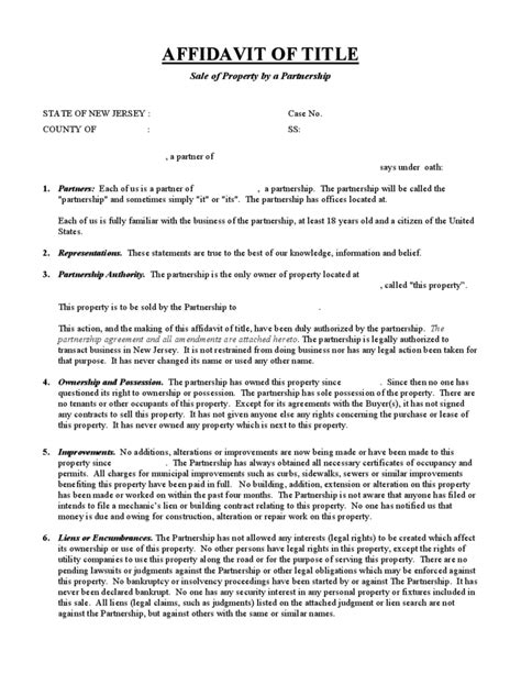sle of affidavit affidavit of title sale of property by a partnership