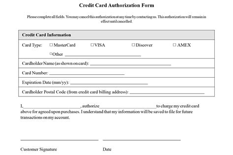 access card form template credit card authorization form templates