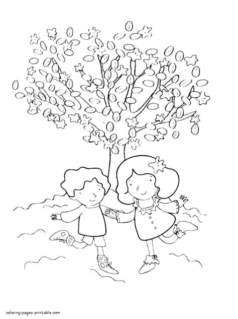 coloring pages of spring trees spring blossom tree and children