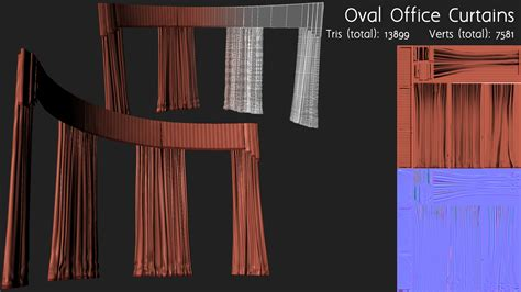 Oval Office Curtains | joshua houser 3d modeler and technical artist portfolio