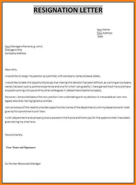 3 simple resignation letters samples servey template