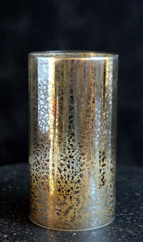 antiqued silver glass hurricane led pillar candle the