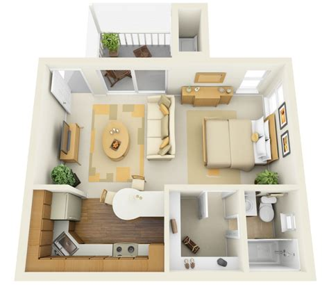 Efficiency Apartment Plans | studio apartment floor plans