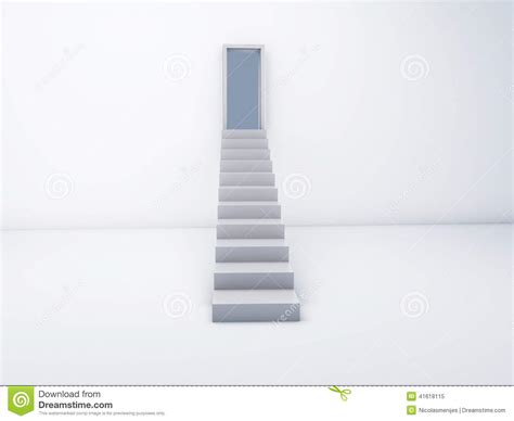 Keyhole Doorway by Stairs To Open Door Success Concept Stock Illustration