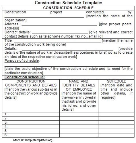 Construction Work Schedule Template Construction Work Plan Template