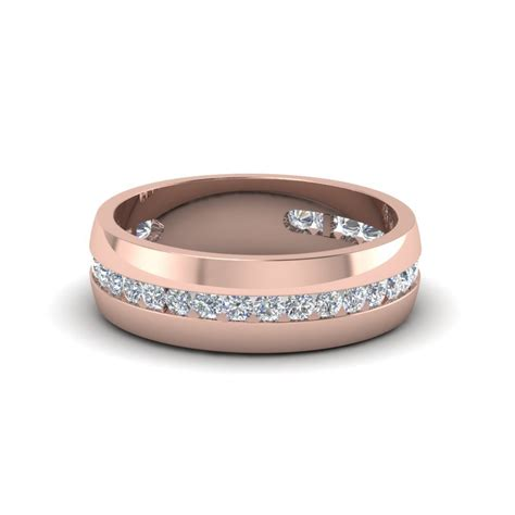 mens diamond channel wedding band   rose gold