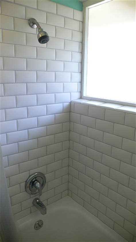White Grout In Shower by White Subway Tiles With Grey Grout I Like How The Tile
