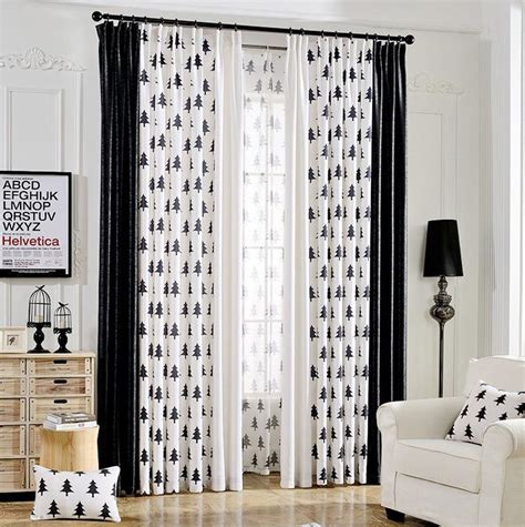 black and white curtains for bedroom black and white tree print linen cotton blend bedroom