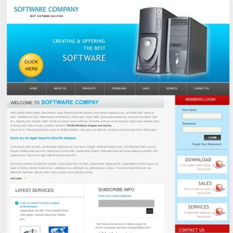 template software software company template free website templates in css