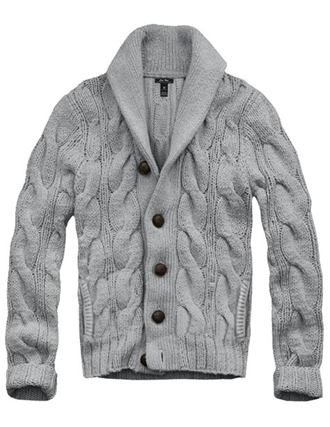 mens grey knitted cardigan shawl collar cardigan sweaters for