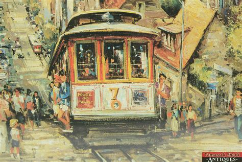 deco cable car vintage acrylic painting print san francisco cable car signed brunet framed ebay