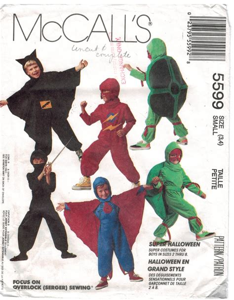 ninja uniform pattern mccalls pattern 5599 costume superhero turtle ninja