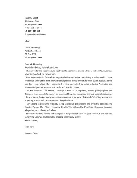 cover letter online application template