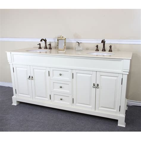 4 Hole Kitchen Faucets 72 inch double sink bathroom vanity in cream white