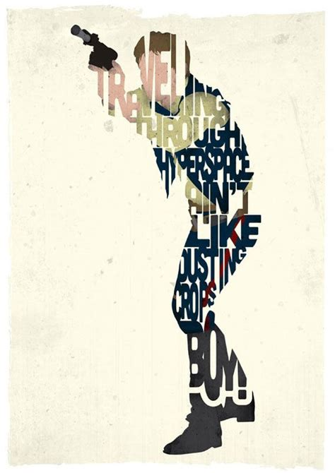 typographic star wars prints featuring iconic characters han solo typography print based on a quote from the movie