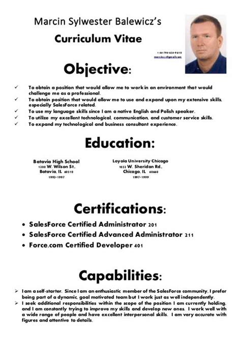 Modelo Curriculum Vitae Formal Modelos De Curriculum Pronto Leseditionsdelascaux