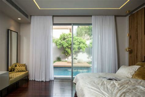 bedroom privacy curtains grand modernist house in israel opens up to its own courtyard