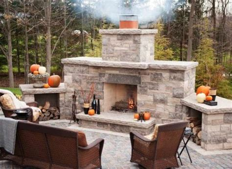 Outdoor Stacked Fireplace by Best Diy Backyard Projects