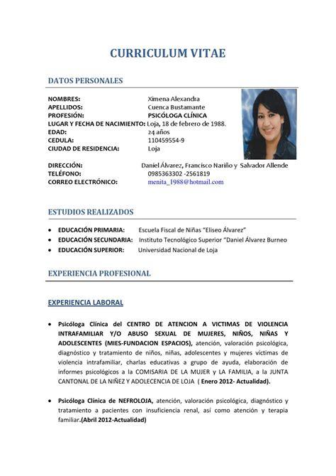 Modelo Curriculum Vitae Psicologo Clinico Hoja De Vida Xime 1 By A Cueva Issuu