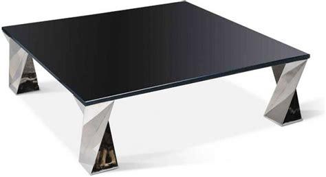 table basse carre en verre noir inox brillant tornade