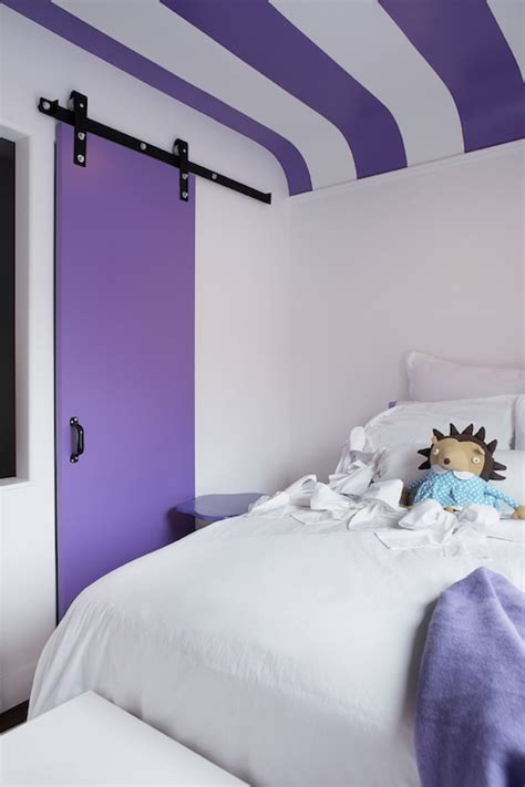 purple wall with striped pillow kids contemporary and purple striped ceiling contemporary girl s room leo