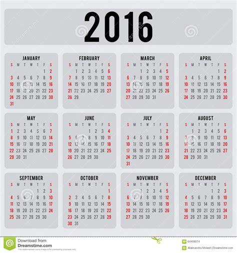 vector calendar template calendar 2016 design template in vector stock vector