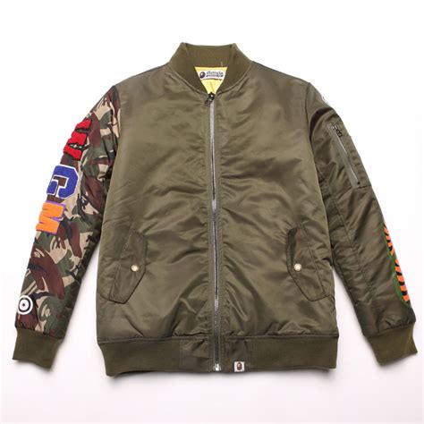 Jaket Bomber Jaket Bape Stussy Putih camouflage bape jacket shark army green bomber s winter jacket and coat 2015 new size m