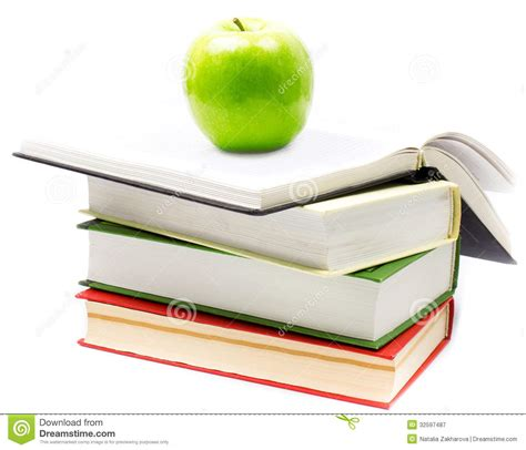 libro green apple british and stack of open books with green apple on white background back royalty free stock photography