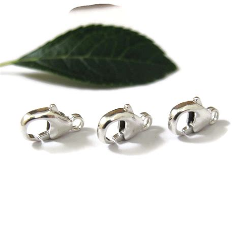 silver findings for jewelry 3 sterling clasps medium sized 11mm lobster claws set