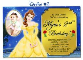 belle beauty the beast birthday party photo invitations