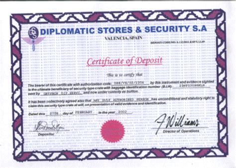 Certificate Of Deposit Letter Scam O Rama