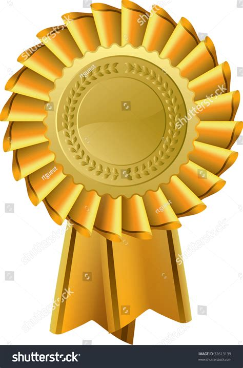 1st prize ribbon template gold award seal rosette vector icon stock vector 32613139
