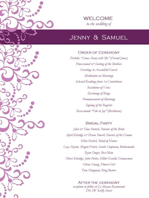 free printable wedding program templates word wedding program templates free weddingclipart