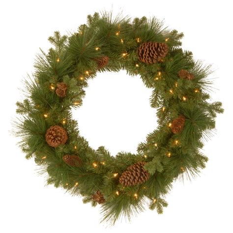 christmas wreath with led lights national tree company crestwood spruce 24 in artificial