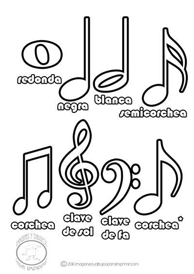 imagenes figuras musicales lamina de las notas musicales con nombres para colorear