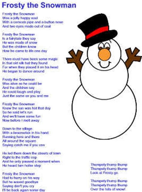 printable lyrics to frosty the snowman frosty the snowman song new calendar template site