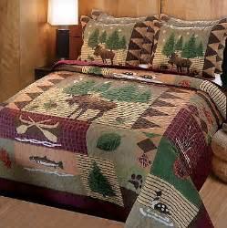 king sz rustic lodge moose cabin quilt bedspread room
