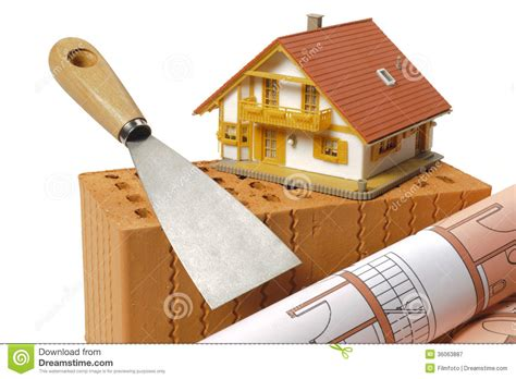 Brick And Tools For House Building Royalty Free Stock