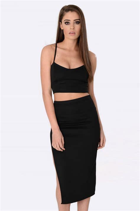 kiera black crop top skirt set womens coord sets