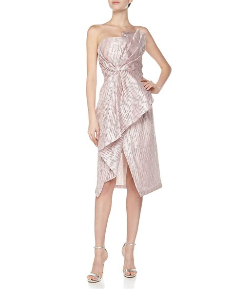 Dress Origami - j mendel strapless origami bustier dress in pink for