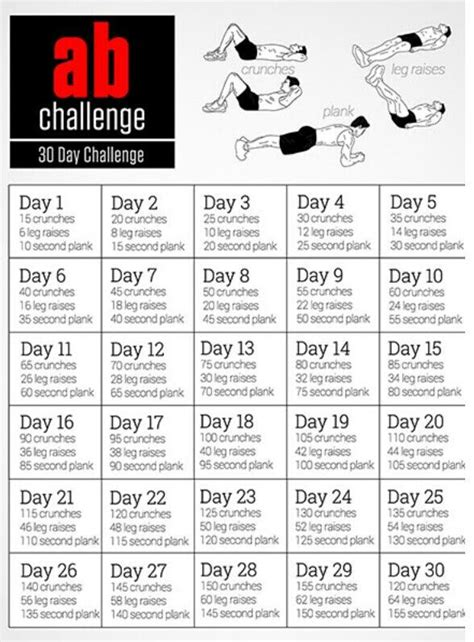 30 day mens ab challenge this challenge includes 3 separate exercises to workout