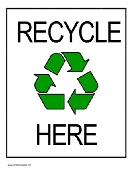 recycle sign template printable recycle here sign