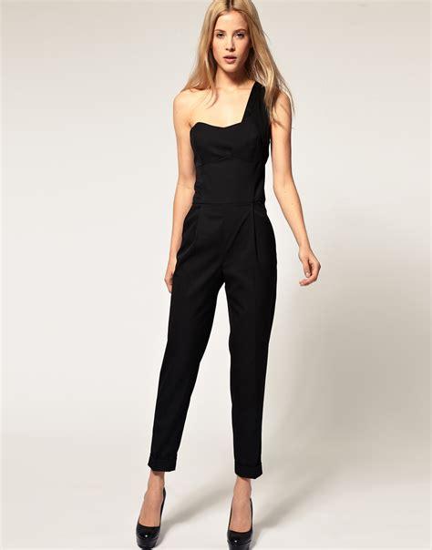 Set Jumpsuit Salur 1 lyst asos collection asos jumpsuit with one shoulder detail in black