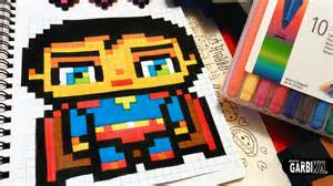 Handmade pixel art how to draw a cute superman by garbi kw youtube