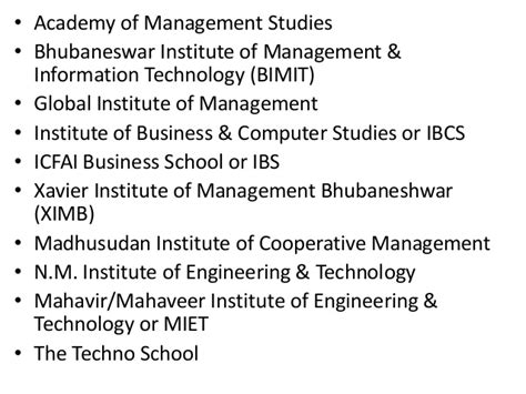 List Of Bhubaneswar Mba College by List Of Mba Institutes In Bhubaneswar