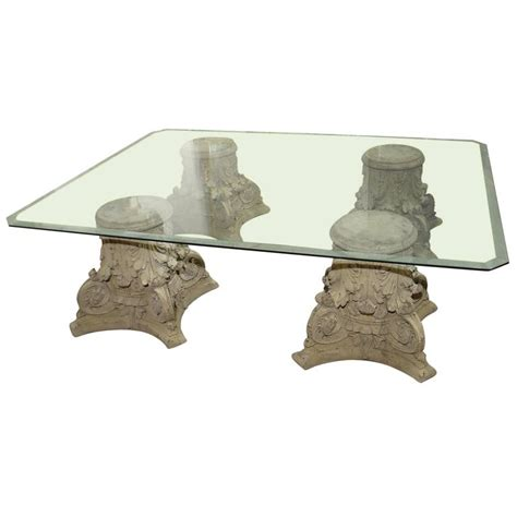 Base For Glass Top Coffee Table Beveled Glass Top Coffee Table On Cast Corinthian Capital Bases At 1stdibs