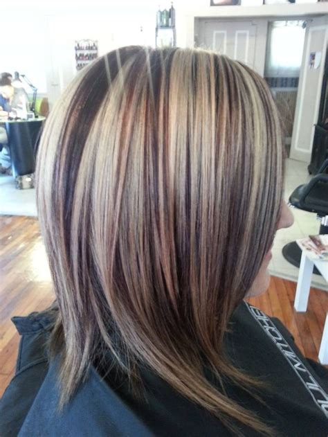 diy lowlights to color grays dark hair with red low lights and blonde high lights