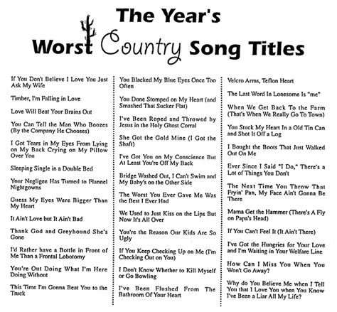 songs with in the title year s worst country song titles handout humor wisdom