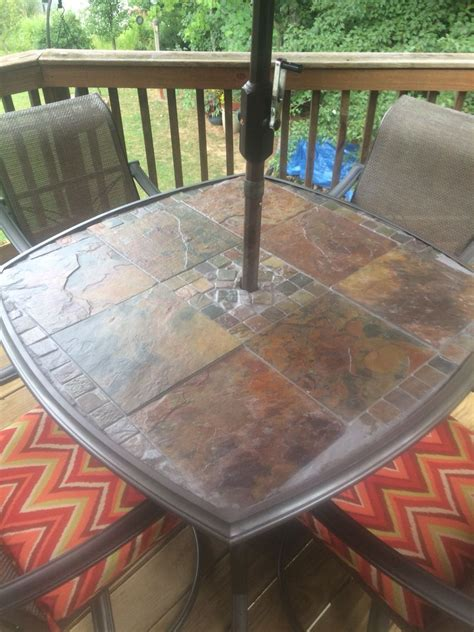 table el patio slate patio table original glass top was shattered so i