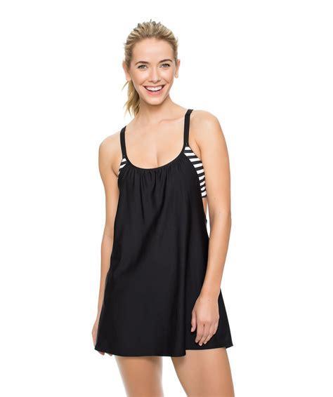 grey womens layered style striped tankini swim skirt